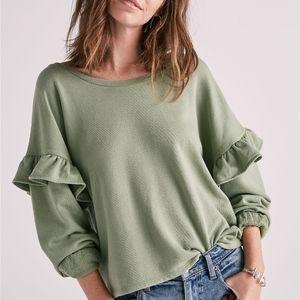 LUCKY BRAND Ruffle Sleeve Pullover Sweatshirt